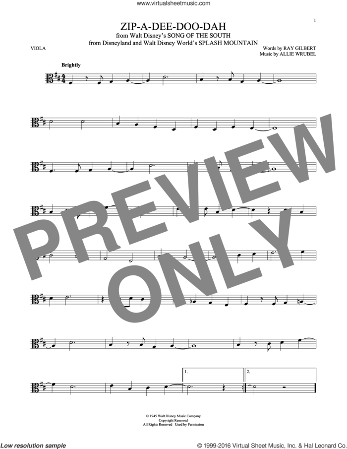 Zip-A-Dee-Doo-Dah sheet music for viola solo by Ray Gilbert and Allie Wrubel, intermediate skill level