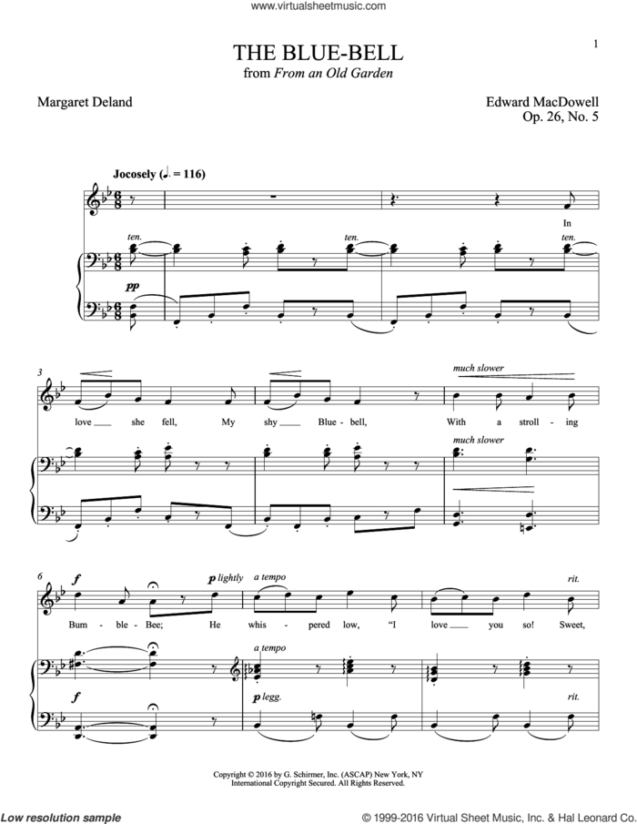 The Blue-Bell sheet music for voice and piano by Edward MacDowell, Joan Frey Boytim and Margaret Deland, classical score, intermediate skill level