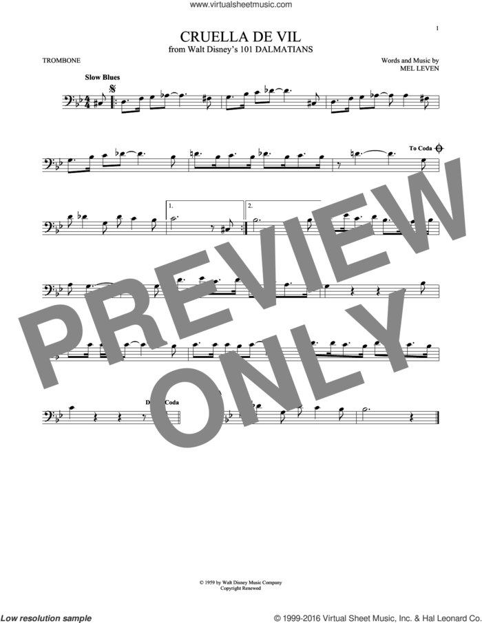 Cruella De Vil sheet music for trombone solo by Mel Leven, intermediate skill level