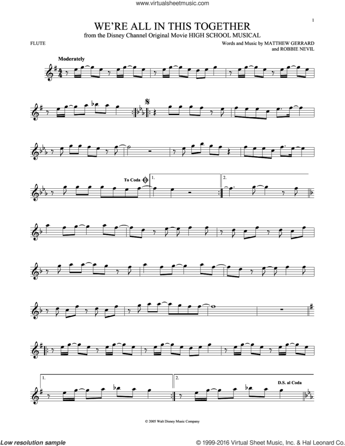 We're All In This Together (from High School Musical) sheet music for flute solo by Matthew Gerrard, High School Musical Cast and Robbie Nevil, intermediate skill level
