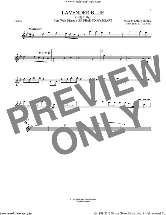 Lavender Blue (Dilly Dilly) sheet music for flute solo by Sammy Turner, Eliot Daniel and Larry Morey, intermediate skill level