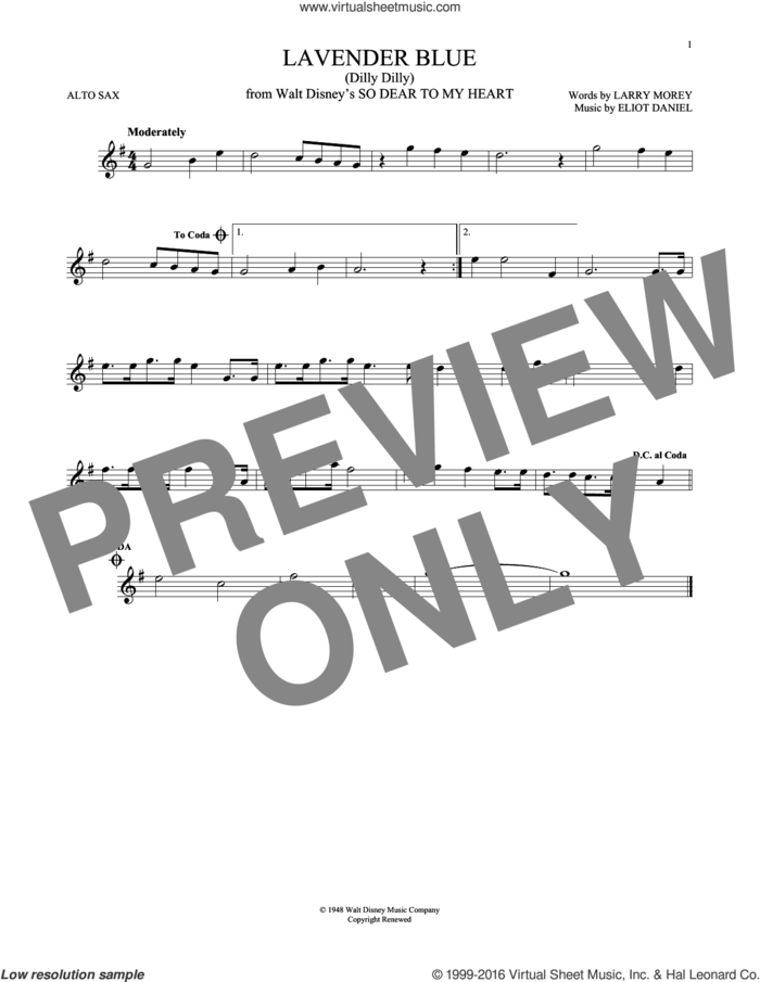 Lavender Blue (Dilly Dilly) sheet music for alto saxophone solo by Sammy Turner, Eliot Daniel and Larry Morey, intermediate skill level