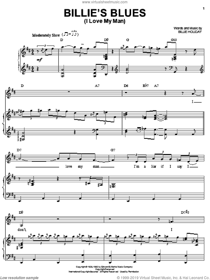 Billie's Blues (I Love My Man) sheet music for voice and piano by Billie Holiday, intermediate skill level