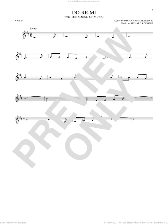 Do-Re-Mi sheet music for violin solo by Rodgers & Hammerstein, Oscar II Hammerstein and Richard Rodgers, intermediate skill level