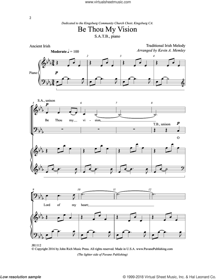 Be Thou My Vision sheet music for choir (SATB: soprano, alto, tenor, bass) by Kevin Memley, intermediate skill level
