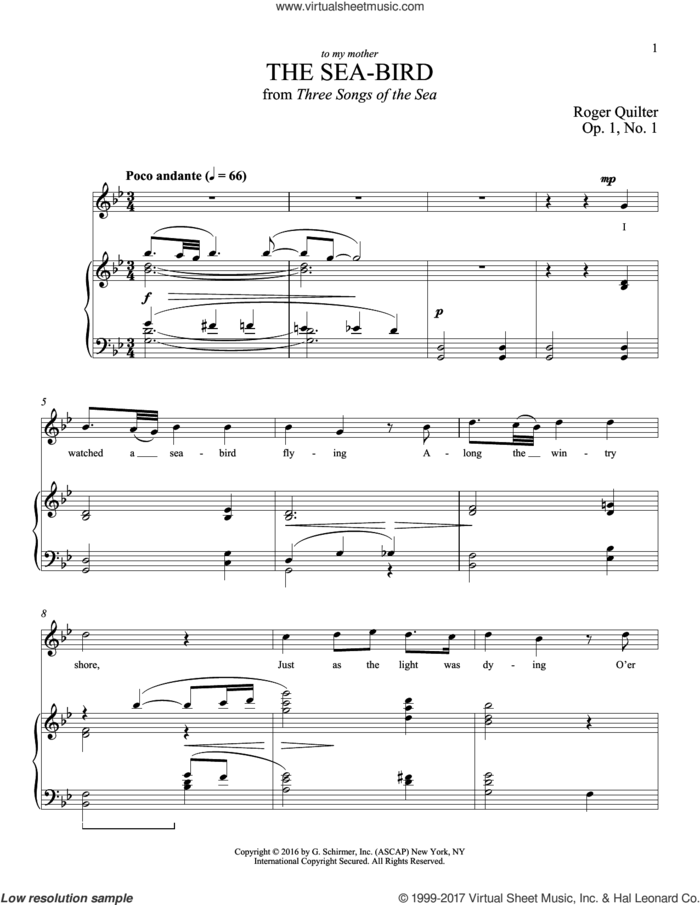 The Sea-Bird sheet music for voice and piano (Tenor) by Roger Quilter, intermediate skill level