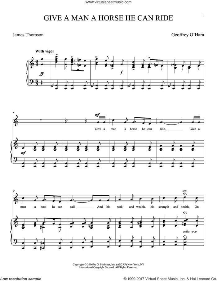 Give A Man A Horse He Can Ride (O'Hara) sheet music for voice and piano (Tenor) by Geoffrey O'Hara and James Thomson, classical score, intermediate skill level