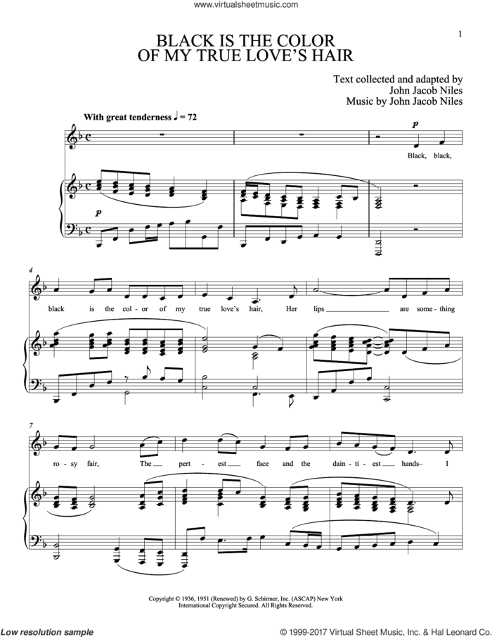 Black Is The Color Of My True Love's Hair sheet music for voice and piano by Joan Frey Boytim, intermediate skill level