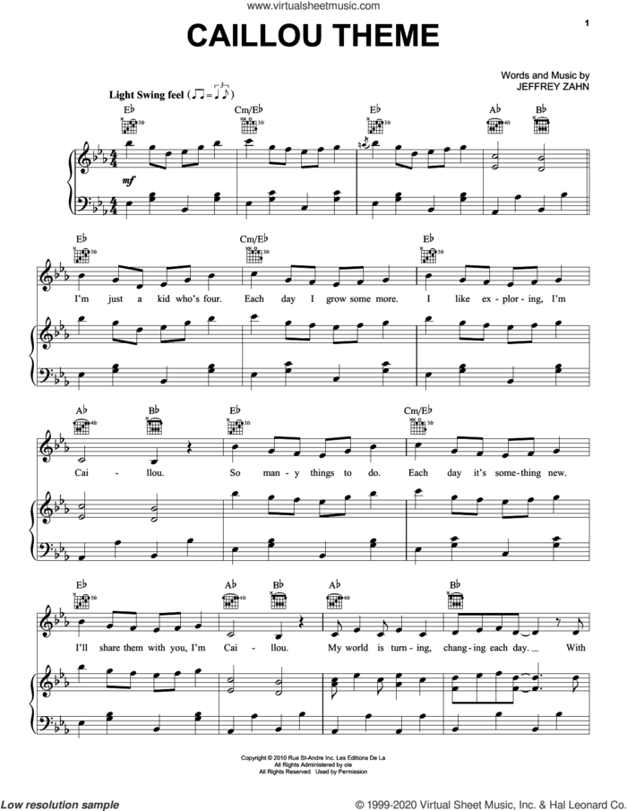 Caillou Theme sheet music for voice, piano or guitar by Jeffrey Zahn, intermediate skill level
