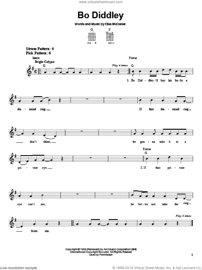 Bo Diddley sheet music for guitar solo (chords) by Bo Diddley and Ellas McDaniels, easy guitar (chords)