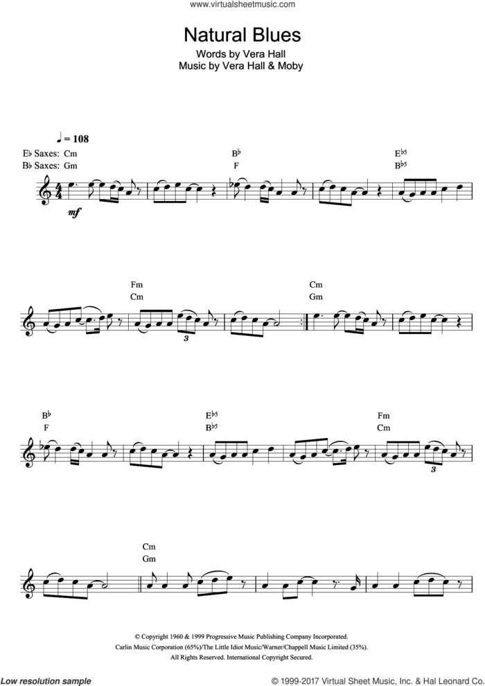 Natural Blues sheet music for alto saxophone solo by Moby and Vera Hall, intermediate skill level