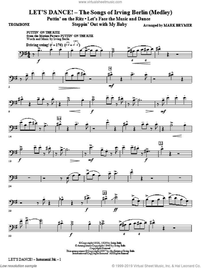 Let's Dance!, the songs of irving berlin (medley) sheet music for orchestra/band (trombone) by Irving Berlin and Mark Brymer, intermediate skill level