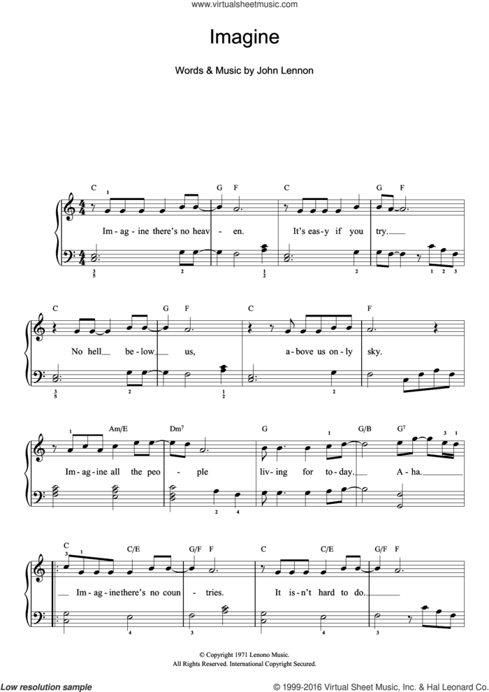Imagine sheet music for piano solo (beginners) by John Lennon, beginner piano (beginners)