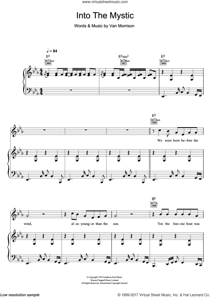 Into The Mystic sheet music for voice, piano or guitar by Van Morrison, intermediate skill level