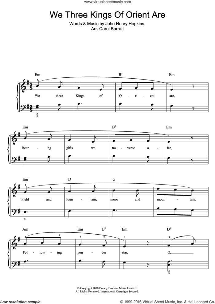 We Three Kings Of Orient Are sheet music for voice and piano by John H. Hopkins, Jr. and Miscellaneous, intermediate skill level