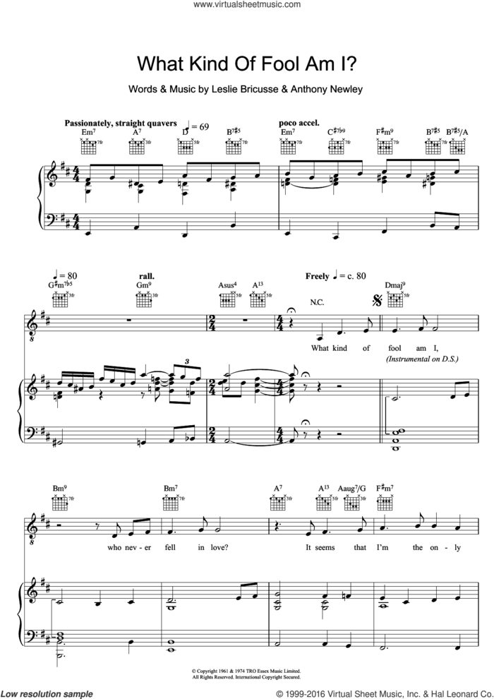 What Kind Of Fool Am I (from Stop The World, I Want To Get Off) sheet music for voice, piano or guitar by Leslie Bricusse, Sammy Davis, Jr. and Anthony Newley, intermediate skill level