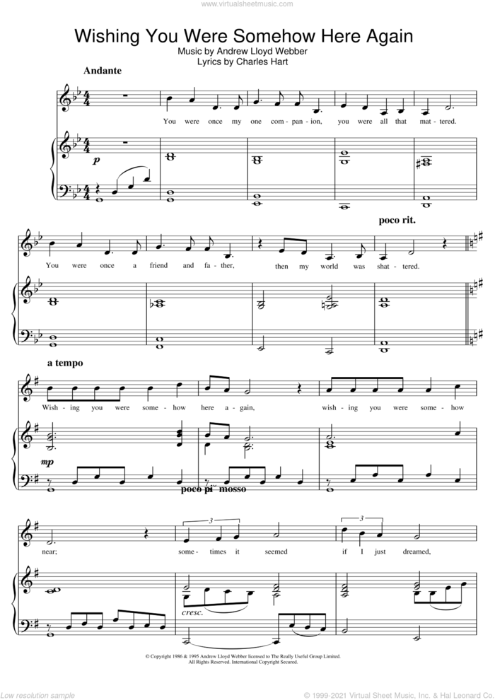 Wishing You Were Somehow Here Again (from The Phantom Of The Opera) sheet music for voice and piano by Andrew Lloyd Webber and Charles Hart, intermediate skill level