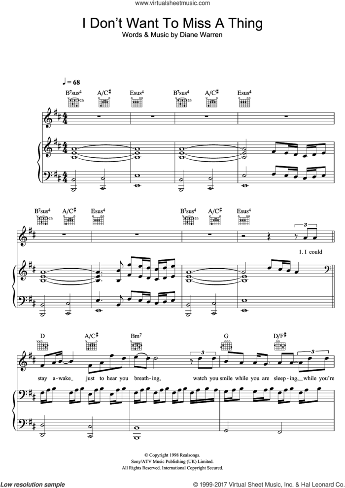 I Don't Want To Miss A Thing sheet music for voice, piano or guitar by Aerosmith and Diane Warren, intermediate skill level