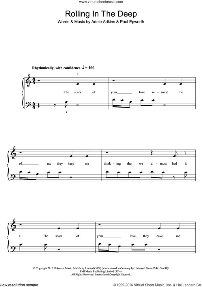 Rolling In The Deep sheet music for piano solo (5-fingers) by Adele and Paul Epworth, beginner piano (5-fingers)