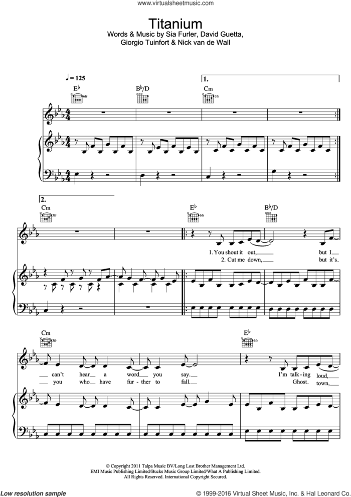 Titanium (featuring Sia) sheet music for voice, piano or guitar by David Guetta, Giorgio Tuinfort, Nick van de Wall and Sia, intermediate skill level