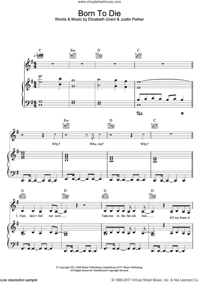 Born To Die sheet music for voice, piano or guitar by Lana Del Rey, Elizabeth Grant and Justin Parker, intermediate skill level