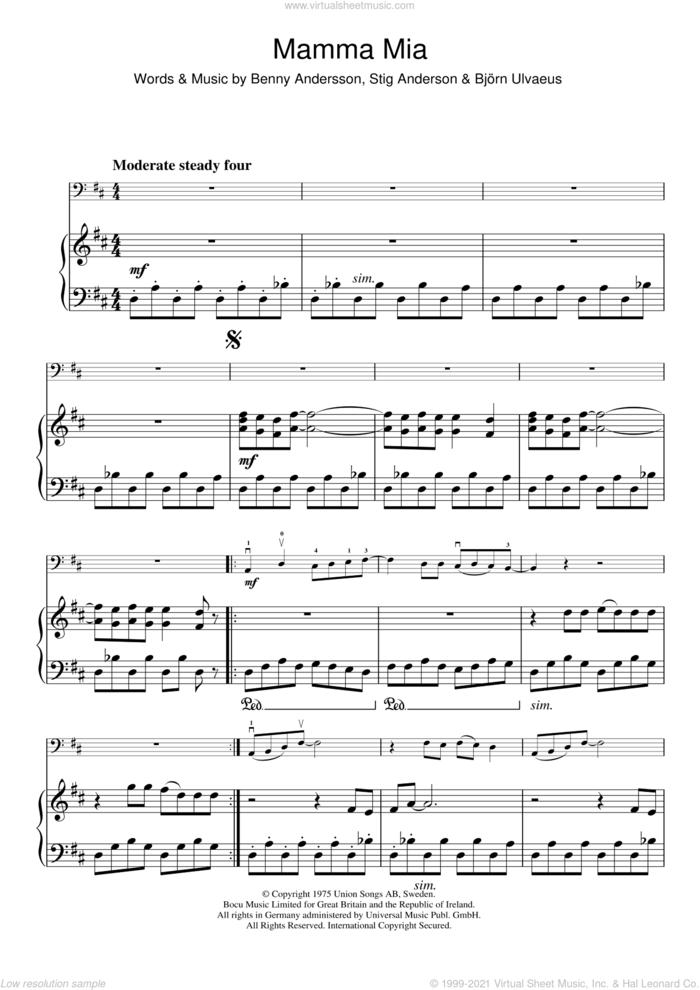 Mamma Mia sheet music for cello solo by ABBA, Benny Andersson, Bjorn Ulvaeus and Stig Anderson, intermediate skill level