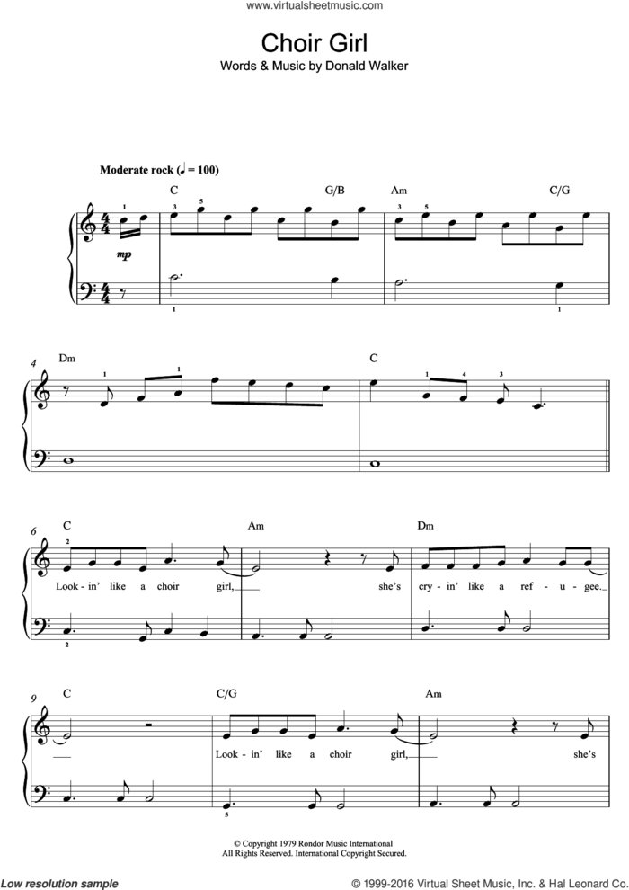 Choir Girl sheet music for piano solo (beginners) by Cold Chisel and Donald Walker, beginner piano (beginners)
