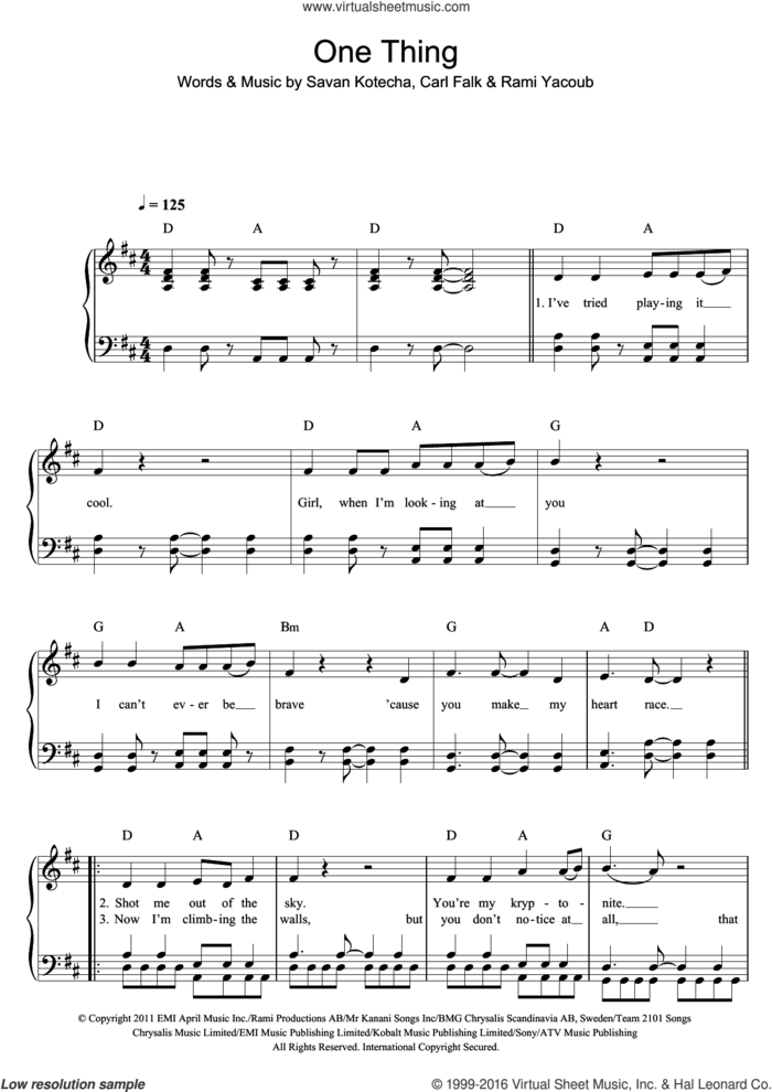 One Thing sheet music for piano solo by One Direction, Carl Falk, Rami and Savan Kotecha, easy skill level