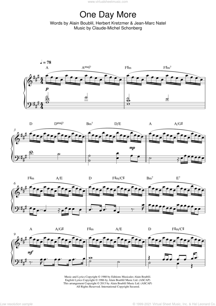 One Day More (from Les Miserables) sheet music for piano solo by Boublil and Schonberg, Alain Boublil, Claude-Michel Schonberg, Herbert Kretzmer and Jean-Marc Natel, intermediate skill level