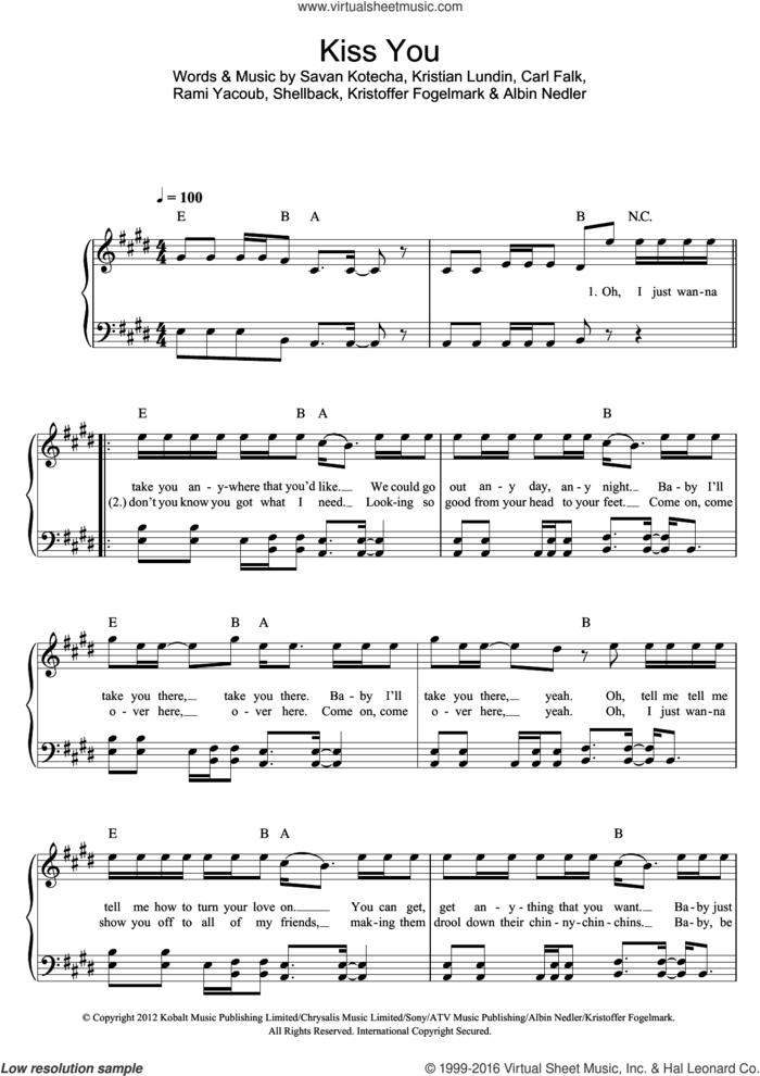 Kiss You sheet music for piano solo by One Direction, Albin Nedler, Carl Falk, Kristian Lundin, Kristoffer Fogelmark, Rami, Savan Kotecha and Shellback, easy skill level