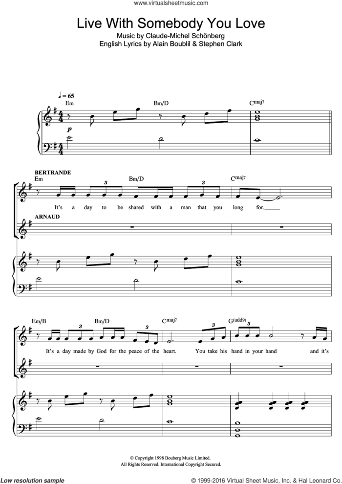 Live With Somebody You Love (from Martin Guerre) sheet music for voice and piano by Russell Watson, Alain Boublil, Claude-Michel Schonberg and Steve Clark, classical score, intermediate skill level