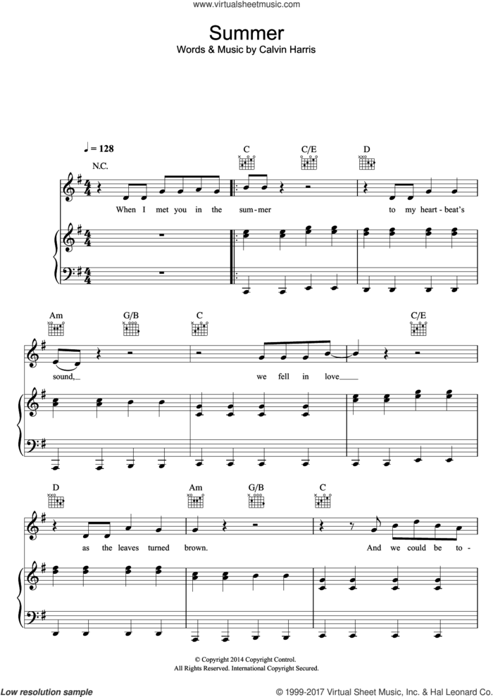 Summer sheet music for voice, piano or guitar by Calvin Harris, intermediate skill level