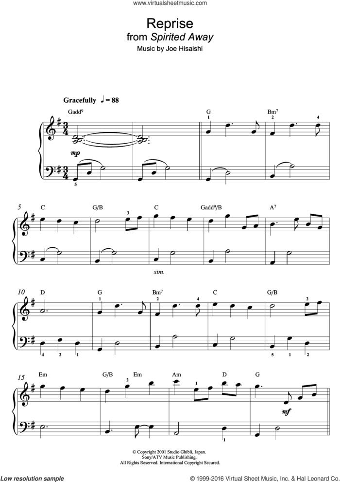 Reprise (from Spirited Away) sheet music for piano solo (beginners) by Joe Hisaishi, beginner piano (beginners)