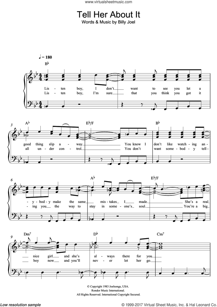Tell Her About It sheet music for voice and piano by Billy Joel, intermediate skill level