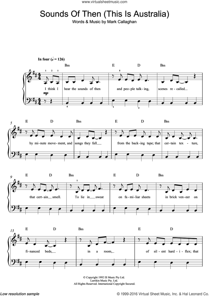 Sounds Of Then (This Is Australia) sheet music for piano solo (beginners) by Ganggajang and Mark Callaghan, beginner piano (beginners)