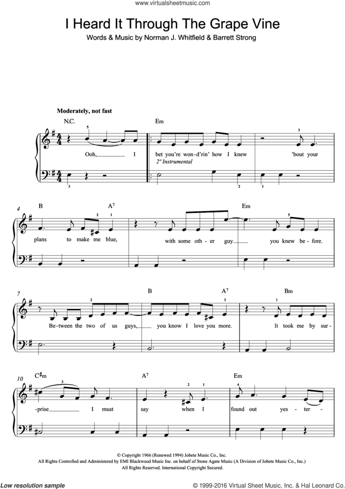 I Heard It Through The Grapevine sheet music for piano solo (beginners) by Marvin Gaye, Barrett Strong and Norman Whitfield, beginner piano (beginners)