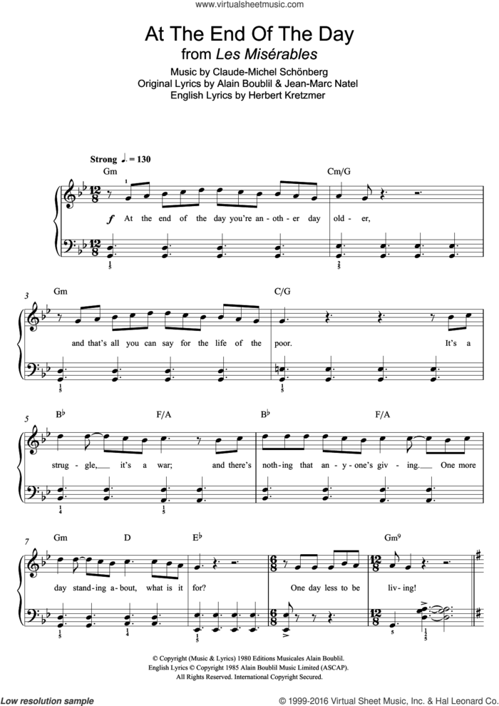 At The End Of The Day (from Les Miserables) sheet music for piano solo (beginners) by Boublil and Schonberg, Alain Boublil, Claude-Michel Schonberg, Herbert Kretzmer and Jean-Marc Natel, beginner piano (beginners)