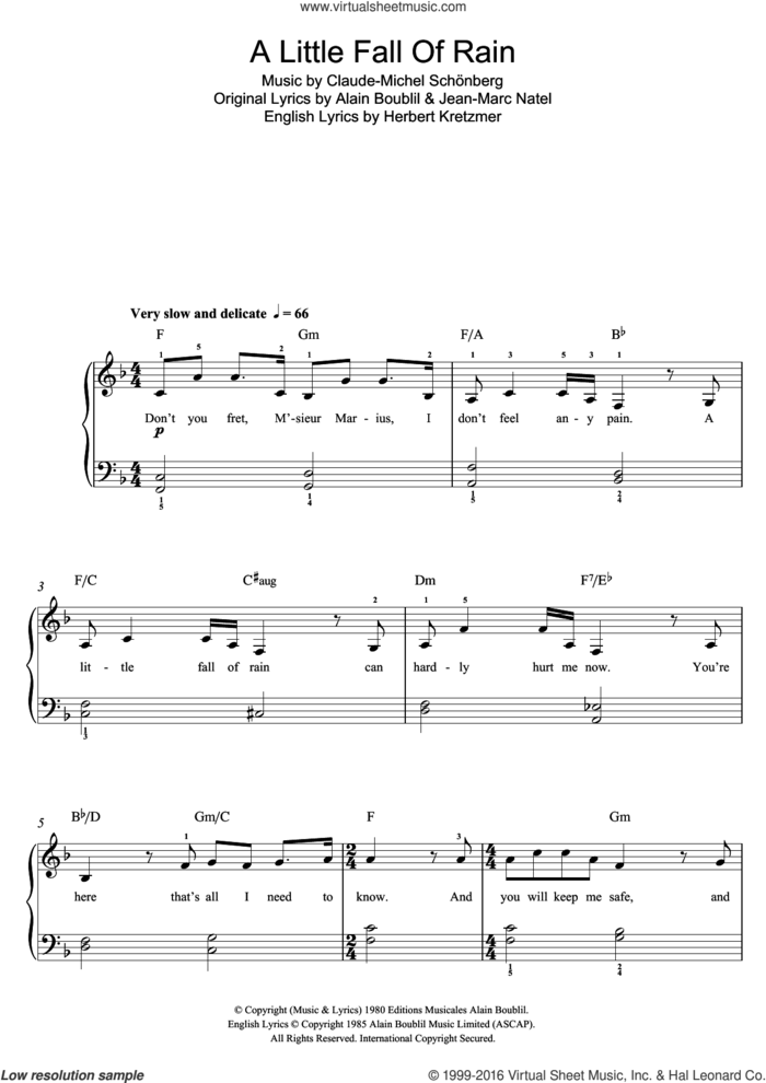 A Little Fall Of Rain (from Les Miserables) sheet music for piano solo (beginners) by Boublil and Schonberg, Alain Boublil, Claude-Michel Schonberg, Herbert Kretzmer and Jean-Marc Natel, beginner piano (beginners)