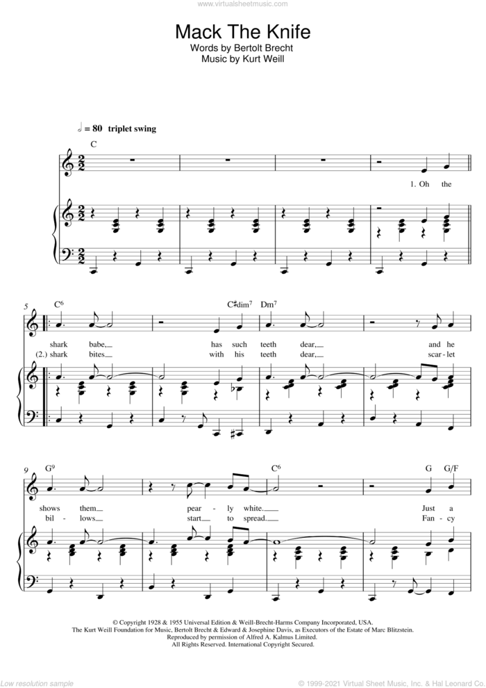 Mack The Knife sheet music for voice and piano by Robbie Williams, Bertolt Brecht and Kurt Weill, intermediate skill level