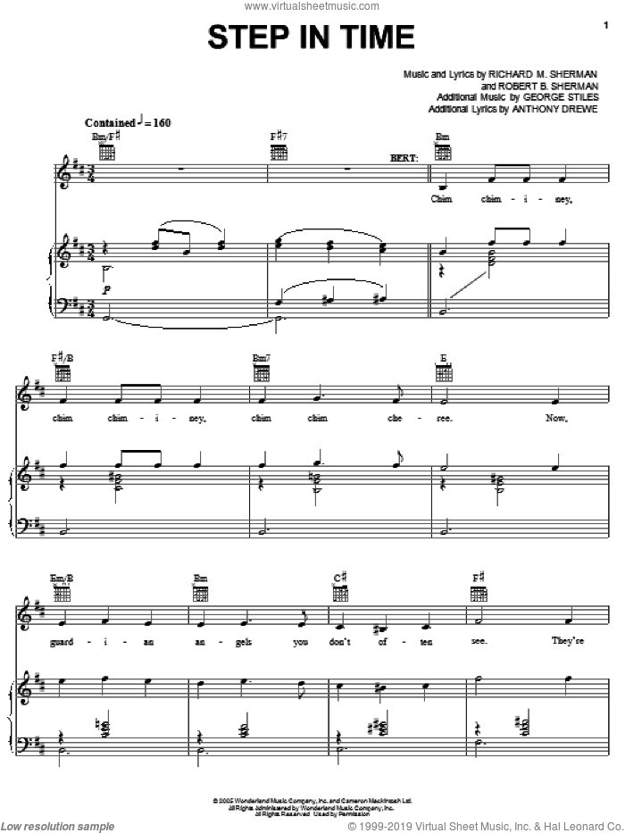 Step In Time sheet music for voice, piano or guitar by Sherman Brothers, Mary Poppins (Musical), Anthony Drewe, George Stiles, Richard M. Sherman and Robert B. Sherman, intermediate skill level