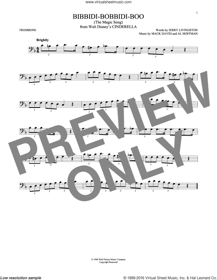 Bibbidi-Bobbidi-Boo (The Magic Song) (from Disney's Cinderella) sheet music for trombone solo by Jerry Livingston, Al Hoffman and Mack David, intermediate skill level