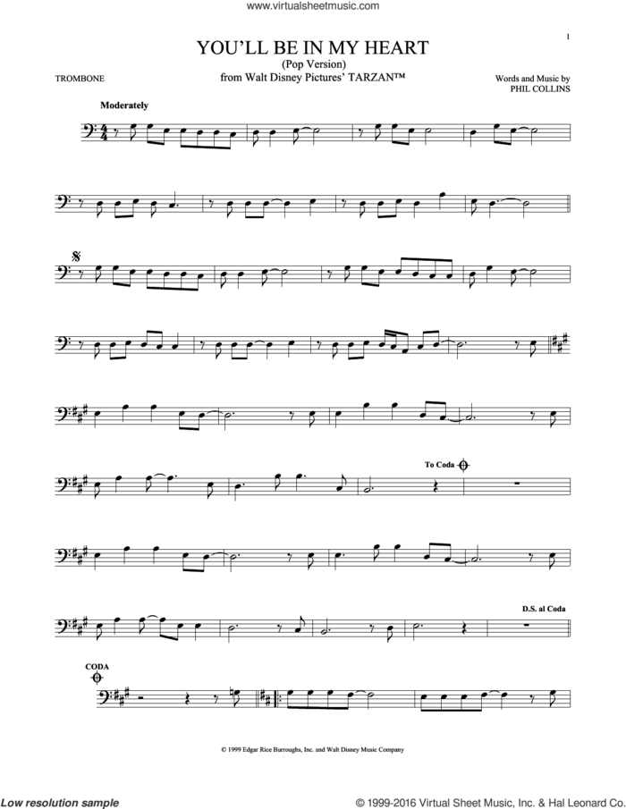 You'll Be In My Heart (Pop Version) sheet music for trombone solo by Phil Collins, intermediate skill level