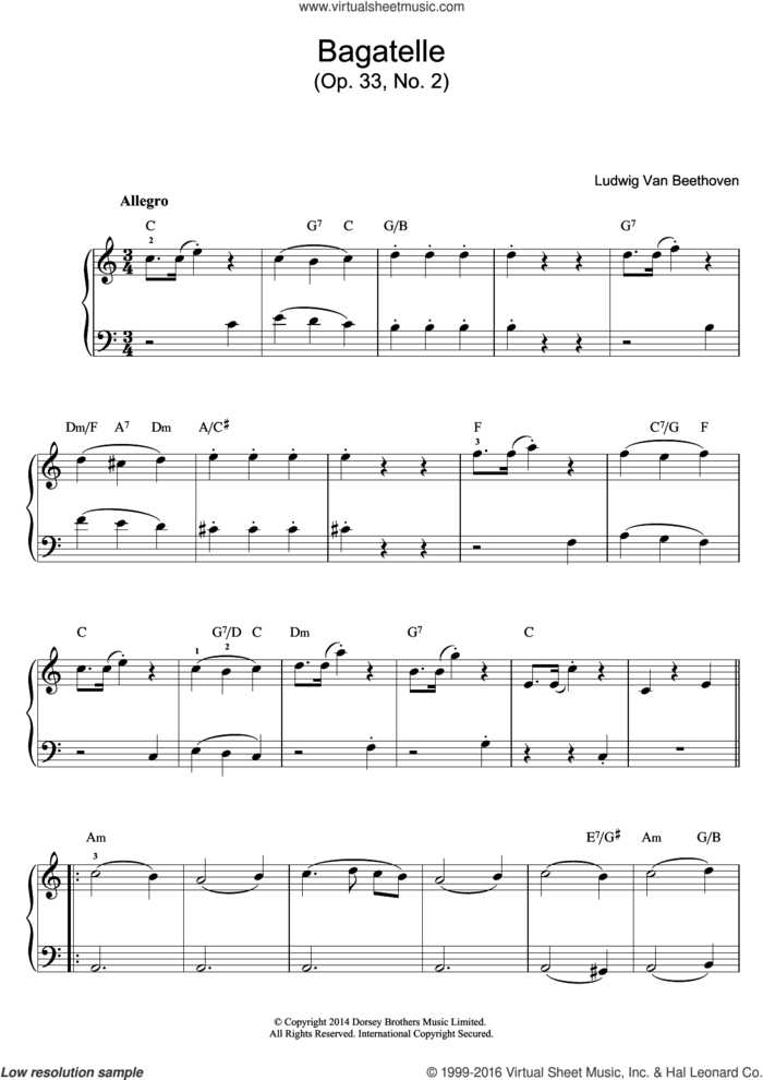 Bagatelle In C Major, Op.33, No.2 sheet music for piano solo (beginners) by Ludwig van Beethoven, classical score, beginner piano (beginners)