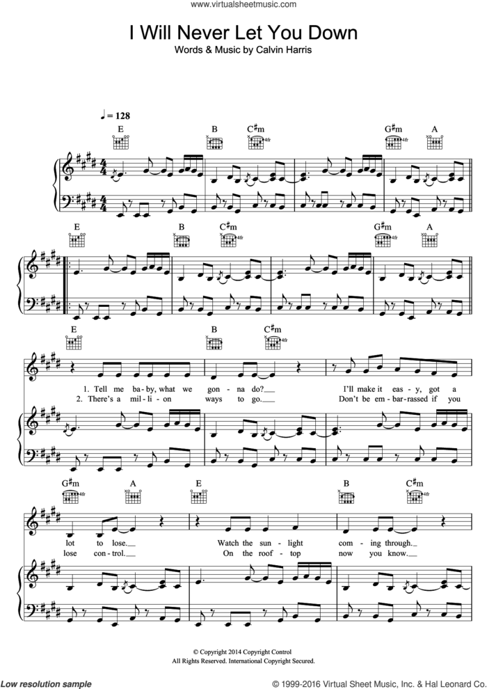 I Will Never Let You Down sheet music for voice, piano or guitar by Rita Ora and Calvin Harris, intermediate skill level
