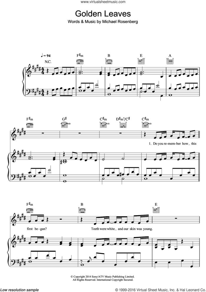 Golden Leaves sheet music for voice, piano or guitar by Passenger and Michael Rosenberg, intermediate skill level