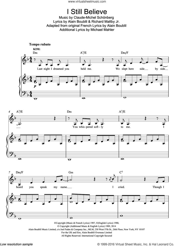 I Still Believe (from Miss Saigon) sheet music for voice and piano by Boublil and Schonberg, Alain Boublil, Claude-Michel Schonberg and Richard Maltby, Jr., intermediate skill level
