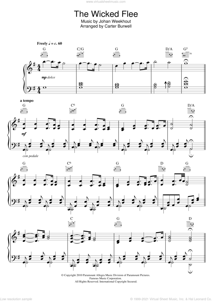The Wicked Flee sheet music for piano solo by Carter Burwell and Johan Weekhout, intermediate skill level