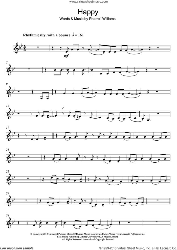 Happy sheet music for clarinet solo by Pharrell Williams, intermediate skill level