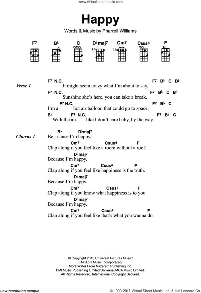 Happy sheet music for ukulele (chords) by Pharrell Williams, intermediate skill level