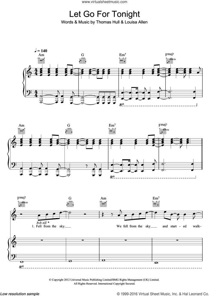 Let Go For Tonight sheet music for voice, piano or guitar by Foxes, Louisa Allen and Tom Hull, intermediate skill level